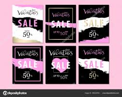 Set Of Trendy Chic Valentine S Day Sale Cards Stock Vector
