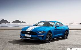blauwe ford mustang hd wallpaper en