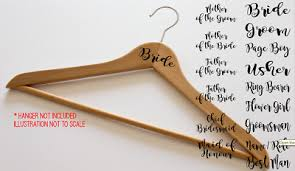 Wedding Hanger Stickers 1x Name Date Role Bride Bridesmaid Personalised Decal 1 50 Picclick Uk