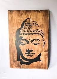 rustic wood buddha wall art wooden