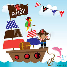 Illustration vector of cute pirate kids with ship on ocean sea ...