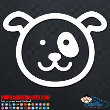 Super Adorable Dog Face Car Decal Sticker Graphic Dog Decals
