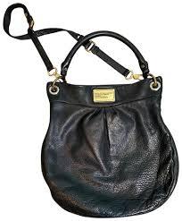 q hillier black leather hobo bag