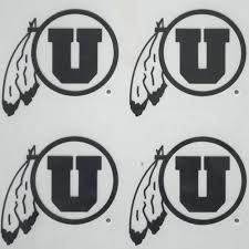 Utah Utes Black Athletic Logo Decal 4 Pack Utah Red Zone