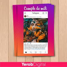 Tarjetas Invitaciones Cumpleanos Digital Instagram 15 Anos 160