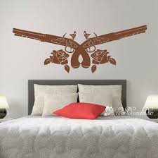 Guns Weapon And Roes Wall Decal Bedroom Living Wall Etsy