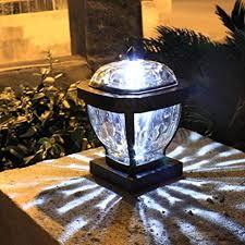 Uonlytech Solar Post Light Waterproof Solar Fence Light Solar Cap Light Solar Pillar Lamp For Garden 1pcs White Light Amazon Com
