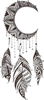 Dainty Brown Henna Flower Moon Dream Catcher Drawing Vinyl Decal Stick Shinobi Stickers