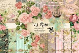 Ivy Rose Digital Scrapbook Kit printable paper ephemera and   Etsy