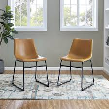 Industrial Light Brown Faux Leather Dining Room Chair Set Of 2 Rc Willey Furniture Store