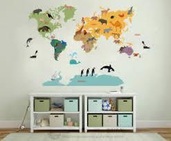 Safari Animal Worldmap Map Wall Sticker Nursery Decals Kids Room Home Decor Gift Ebay