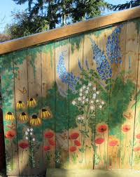 Garden Mural On Chicken Coop Free Hand Painting With Acrylic Paint Garden Mural Garden Fence Art Fence Art