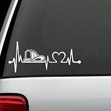 Amazon Com Bluegrass Decals K1117 Firefighter Firemens Firemen Helmet Heartbeat Lifeline Monitor Decal Sticker Automotive