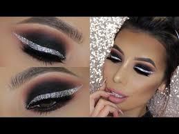 silver glitter eyeliner smokey eyes