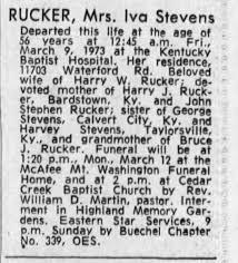 Obituary for Iva RUCKER Stevens (Aged 56) - Newspapers.com