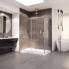 sliding shower door with fixed panel