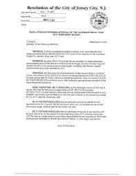 Resolution of the City of Jersey City, NJ.