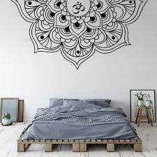 Half Mandala Wall Decal Vinyl Sticker Bedside Bedroom Boho Bohemian Style Decorative Yoga Studio Namaste Decorative Mural Ll2221 Wall Stickers Aliexpress