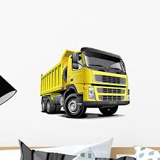 Amazon Com Wallmonkeys Wm184936 Dump Truck Wall Decal Peel And Stick Graphic 18 In W X 13 In H Home Kitchen
