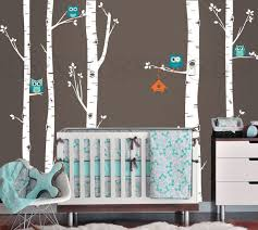 Owls And Birch Tree Forest Wall Decal Birch Trees Birch Forest Birch Tree Owl Wall Vinyl F Birch Tree Wall Decal Forest Wall Decals Woodland Animal Wall Art