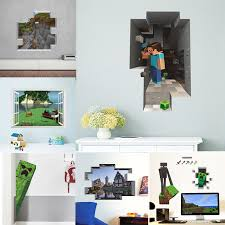 Cartoon Minecraft 3d Vivid Wall Stickers For Kids Rooms Art Mural Steve Poster Home Decor Popular Games Wall Decals Buy At The Price Of 2 03 In Aliexpress Com Imall Com