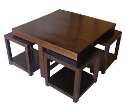 solid wood coffee table with stools