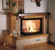two sided brick corner fireplace
