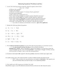 balancing equations science worksheets