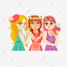 ثلاث فتيات أنيقات جميلات يؤرخن عناصر الرسوم المتحركة جميلة موضه