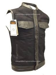 men s club black denim vest w leather