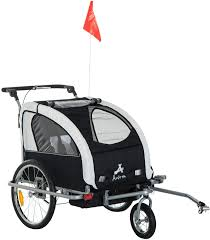 Amazon.com : Alek...Shop Multi-Function 2 in 1 Child Trailer Baby Bike  Stroller Double Seat 3 Wheel, Travel Kids w/Canopy Rainproof Transparent  Cover Basket Storage, Jogger Bicycle, Black : Sports & Outdoors