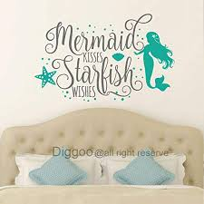Diggoo Wall Decal Mermaid Kisses Starfish Wishes Wall Quote Girls Bedroom Decor Mermaid Wall Art Nautical Nursery Decor Gray Teal 25 H X 40 W Wantitall