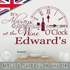 It S Always Wine O Clock Funny Kitchen Wall Sticker Personalised Family Wall Quote Decor Decal
