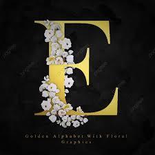 الأبجدية ذهبية حرف E ألوان مائية الزهور الخلفية ألوان مائية
