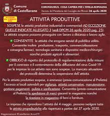 CORONAVIRUS   DPCM 26 APRILE 2020 – Comune di Castellarano