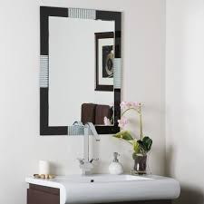 frameless bathroom wall mirror rustic