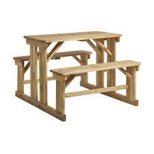 pine wood outdoor table benches