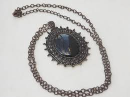 large black stone oval pendant necklace