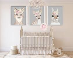 3 Deer Fox Bunny Rabbit Floral Boho Wall Art Print Woodland Bohemian P Pink Forest Cafe