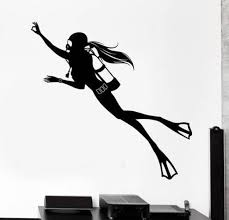 Girl Scuba Diver Wall Decal Which Can Be Combined With A Fire Etsy In 2020 Diver Art Scuba Tattoo Diver