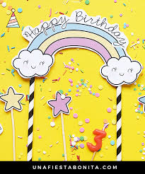 Topper Unicornio Y Estrellas Fiesta De Cumpleanos Infantil Como