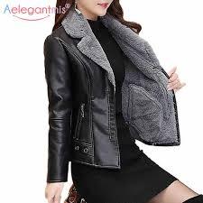 warm faux fur coat women leather jacket