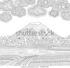 Printbare Kleurplaat Voor Volwassenen Met Berglandschap