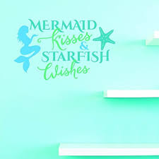 Amazon Com Top Selling Decals Mermaid Kisses Starfish Wishes Wall Art Size 14 Inches X 28 Inches Home Kitchen