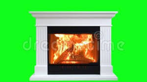 fireplace isolated on green screen