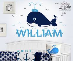 Whale With Name Nautical Decal Seagull Nursery