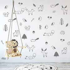 Decor Decals Stickers Vinyl Art Forest Animal Bear Fox Wall Sticker Nordic Tribal Cartoon Nursery Art Wall Decal Stickers Home Garden