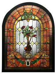 arch top stained glass window with