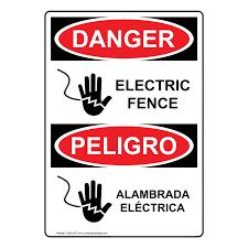 English Spanish Osha Danger Electric Fence Sign With Symbol