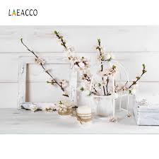 Laeacco الربيع زهرة تنبت زهرية رمادي ألواح خشبية إطار الحيوانات